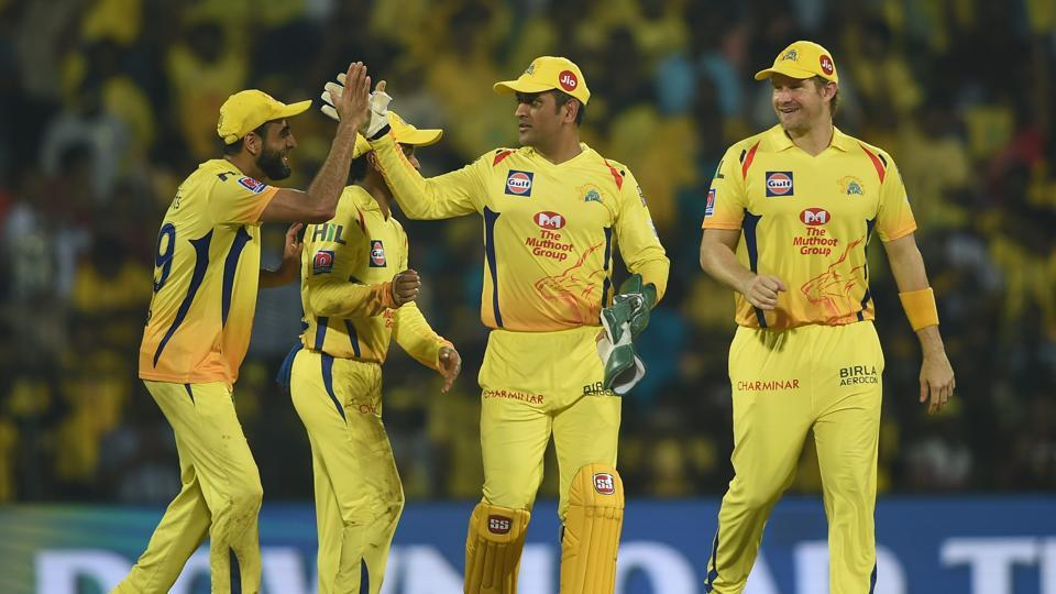 Chennai: CSK skipper MS Dhoni celebrates his team's victory with teammates in the Indian Premier League 2019 (IPL T20) cricket match between Chennai Super Kings (CSK) and Rajasthan Royals (RR) (PTI)