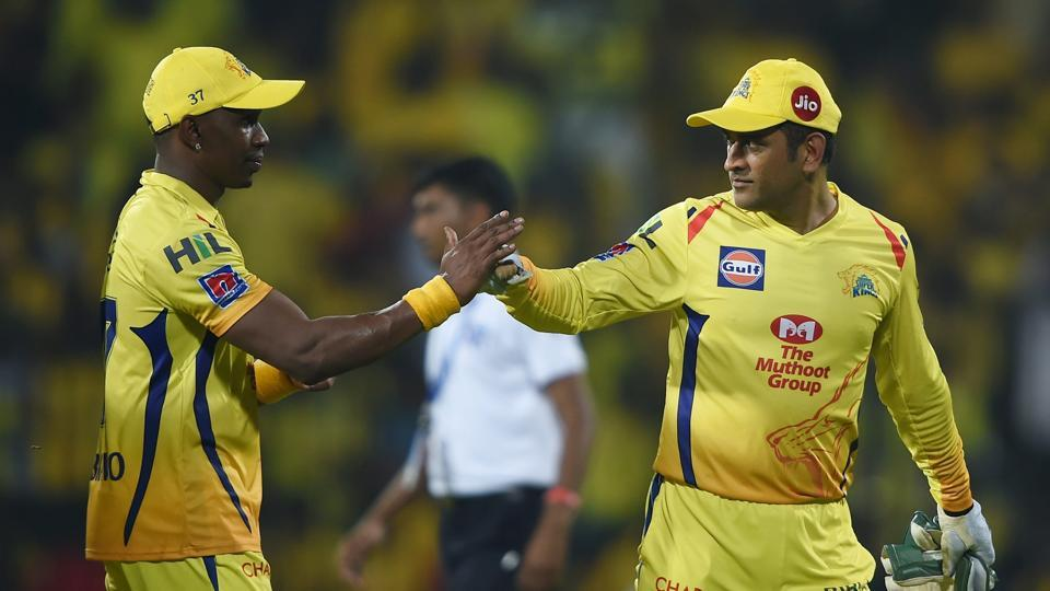 Chennai: CSK skipper MS Dhoni and Dwayne Bravo celebrate their team's win in the Indian Premier League 2019 (IPL T20) cricket match between Chennai Super Kings (CSK) and Rajasthan Royals (RR)