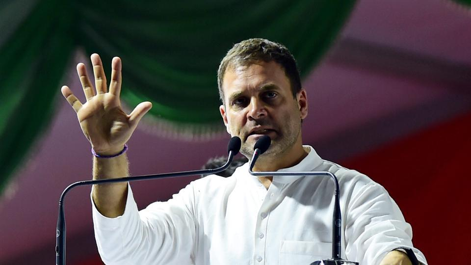 Congress President Rahul Gandhi gestures as he speaks at a Congress-JD(S) rally ahead of Lok Sabha election, Bengaluru, March 31, 2019