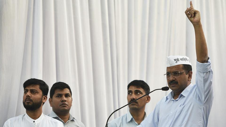 "Delhi Chief Minister Arvind Kejriwal said that there were no talks on an alliance for Delhi's seven Lok Sabha seats with the Congress as its President Rahul Gandhi has already refused it. ""There is nothing on the alliance with Congress. We had one meeting with Rahul Gandhi where he refused to have an alliance with AAP,"" he said. (Biplov Bhuyan / HT File)"
