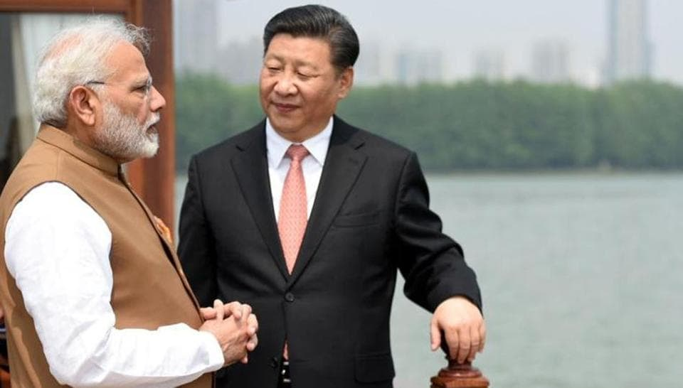 Narendra Modi with China's president Xi Jinping inside a house boat, in Wuhan's East Lake, China on April 28, 2018.