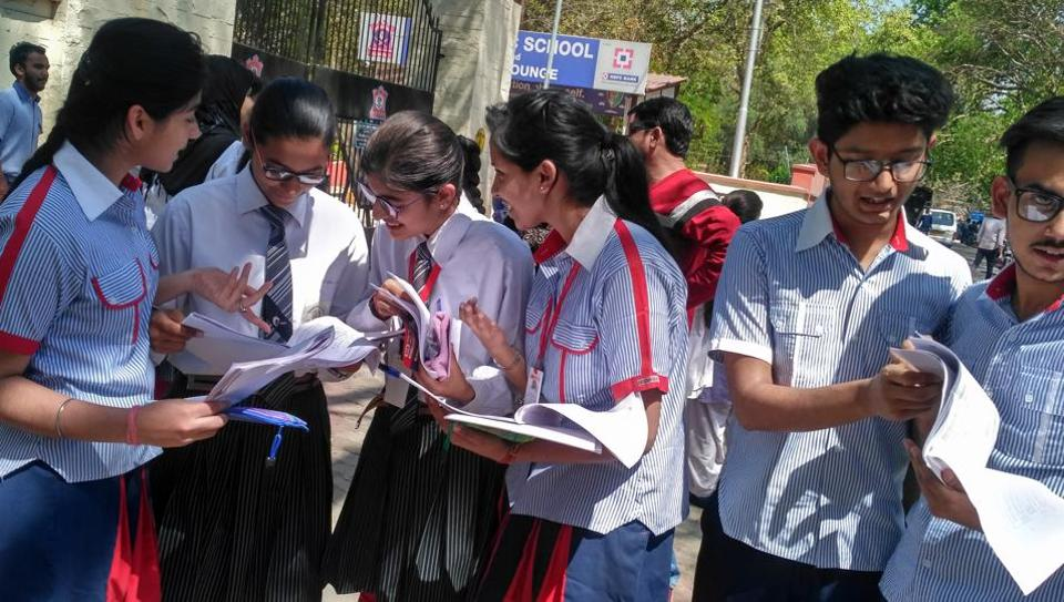 Students of GD Goenka Public School  discussing CBSE class 12 Computer Science exam on Tuesday
