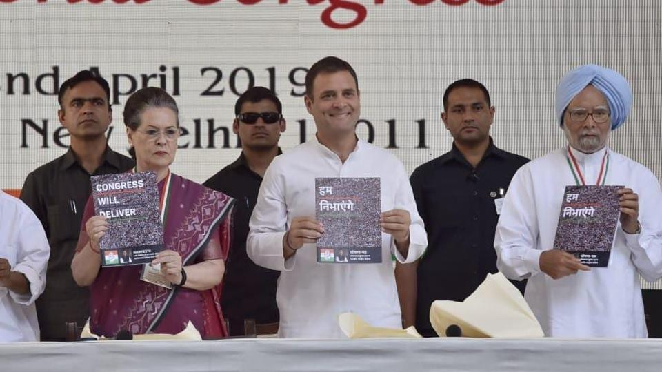 """The Congress on Tuesday unveiled its manifesto for the Lok Sabha elections saying that it has """"enough to address everyone's concerns"""" in the country ."""