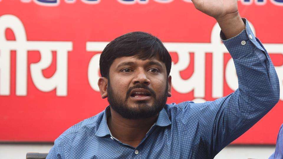Ex-president of JNU Students Union Kanhaiya Kumar is addressing a press conference ahead Lok Sabha Election 2019 at Janshakti office in Patna.