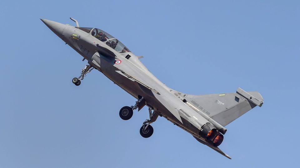 French aircraft Rafale manoeuvres during AERO India 2019 air show at Yelahanka airbase in Bengaluru.