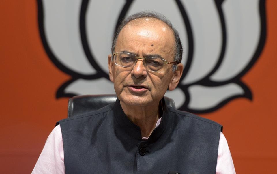 Union finance minister and BJP leader Arun Jaitley addresses a press conference at BJP headquarters in New Delhi, India, on  April 2.