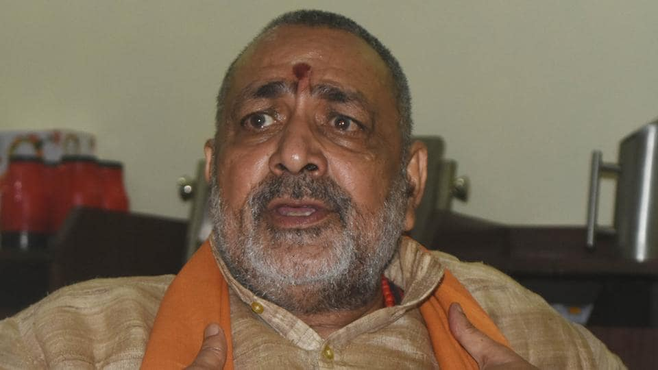 Union minister Giriraj Singh at the office in Begusarai from where he is contesting the Lok Sabha elections.