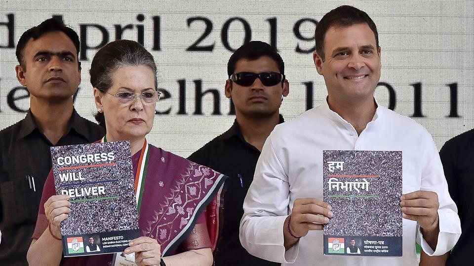 """Congress unveiled its manifesto for the Lok Sabha elections saying that it has """"enough to address everyone's concerns"""" and will seize narrative of """"polarization"""" from the BJP to bring it back to the real issues of """"unemployment, farmers' distress and women's security"""". Party president Rahul Gandhi said the manifesto has """"five big ideas"""". The biggest idea in the Congress manifesto is NYAY (Nyuntam Aay Yojana) scheme, he said. (Ajay Aggarwal / HT Photo)"""