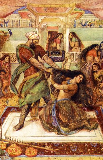 An early 20th century illustration of the pivotal scene from the Mahabharata where Dushasana drags Draupadi by the hair from her chamber.
