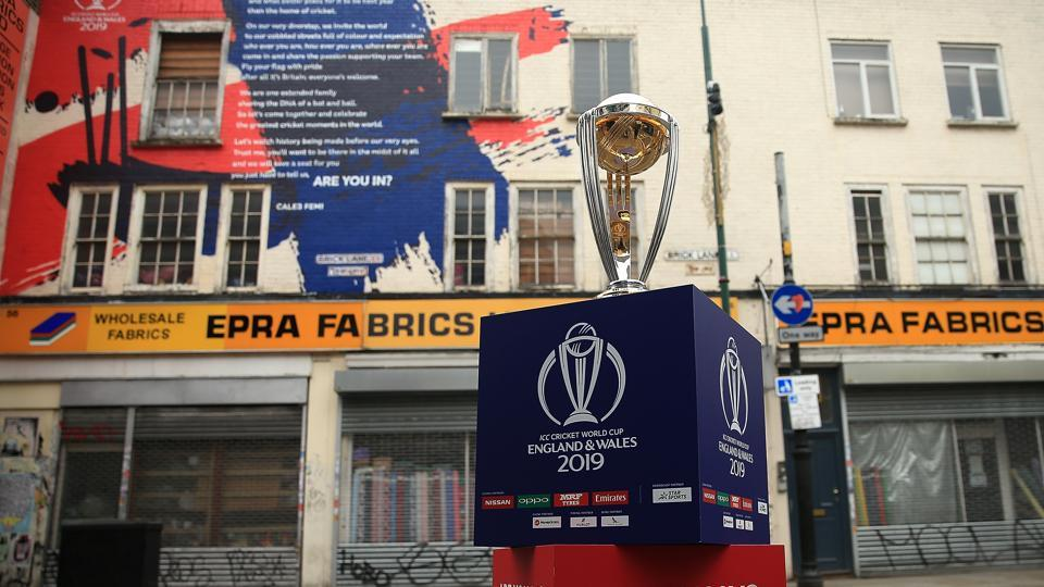 The ICC Cricket World Cup trophy on display on Brick Lane infront of the World Cup declaration mural by London poet Caleb Femi on May 30, 2018 in London, England.