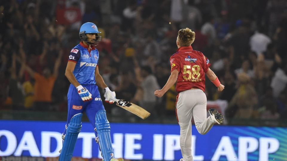 Mohali: Kings XI Punjab (KXIP) player Sam celebrates after dismissing DC's Harshal Patel during the Indian Premier League 2019 (IPL T20) cricket match between Delhi Capitals (DC) and Kings XI Punjab (KXIP) at I.S Bindra Stadium in Mohali, Monday, April 1, 2019