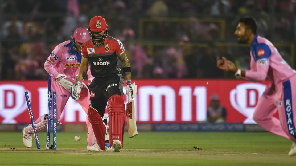 Jaipur: Royal Challengers Bangalore (RCB) batsman Virat Kohli after he was bowled out during the Indian Premier League (IPL T20 2019) cricket match between Royal Challengers Bangalore (RCB) and Rajasthan Royals( RR)