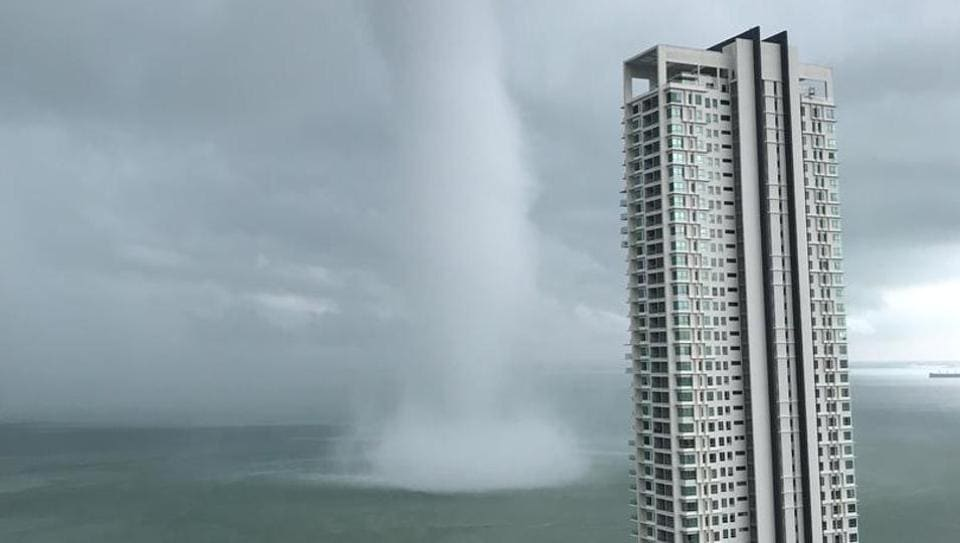 """""""The residents in Penang thought it's a tornado. No, it's not! It's a waterspout! ...Rather scary!"""" a Twitter user ."""