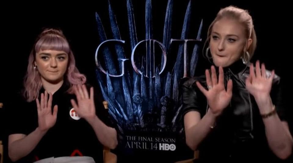 Sophie Turner and Maisie Williams promote Game of Thrones.
