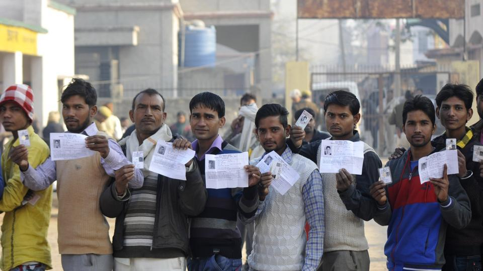 Greater Noida, India - February 11, 2017: Voters begin casting their vote in Jewar constituency, in Greater Noida, India, on Saturday, February 11, 2017.