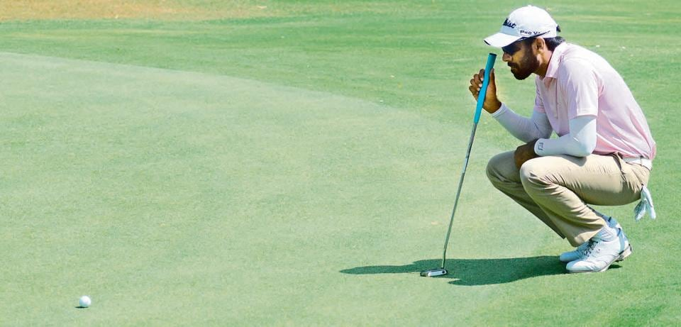 Bengaluru-based golfer Jaibir Singh in action during the PGTI tournament at Poona Club Golf Course on Wednesday.