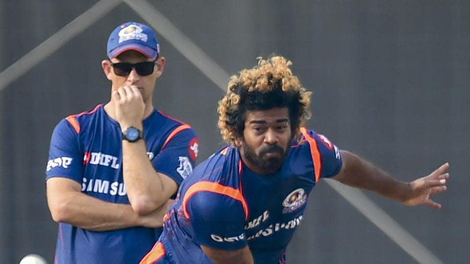 Mumbai Indians (MI) player Lasith Malinga during a training session.