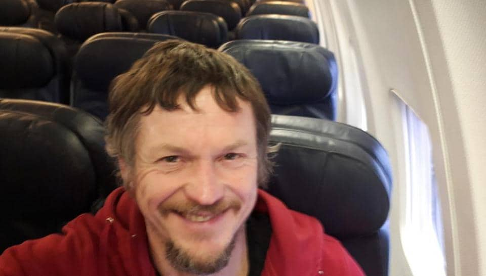 Skirmantas Strimaitis took a selfie as he was the only passenger in the aircraft.