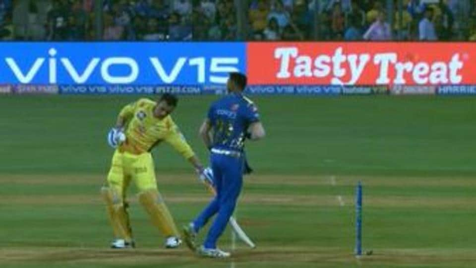 The moment when Mumbai Indians' Krunal Pandya didn't release the ball and MS Dhoni kept his bat rooted in the crease.
