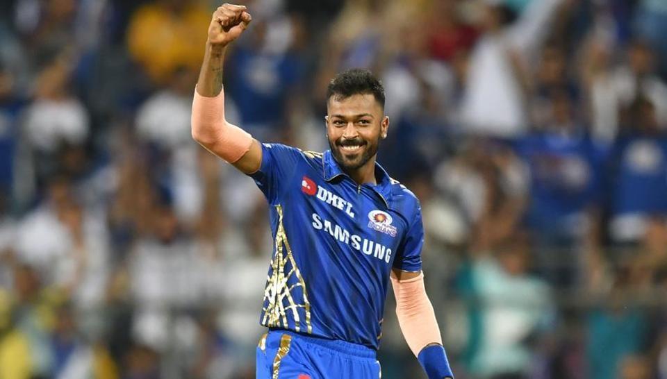 Mumbai Indians' bowler Hardik Pandya celebrates after taking the wicket of Chennai Super Kings captain Mahendra Singh Dhoni