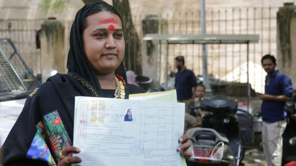 A transgender person Naresh Jayshwal has decided to contest Lok Sabha elections as an independent candidate in Gujarat and filed her nomination papers. The 28-year-old will contest from Ahmedabad East, where the Congress candidate is Gita Patel, a close aide of Patidar leader Hardik Patel. The Bharatiya Janata Party has not announced its candidate from this constituency, which is currently represented by actor Paresh Rawal. (Ajit Solanki / AP File)