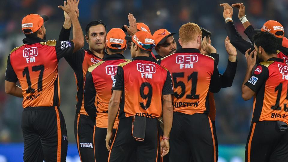 SRH players celebrate after claiming the wicket of DC player Rishabh Pant. (PTI)