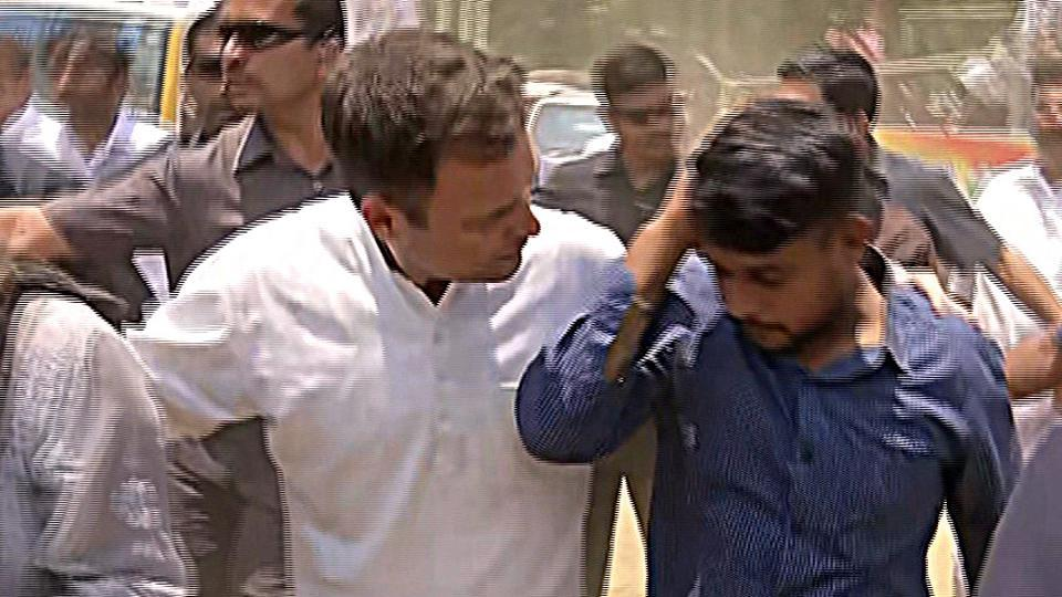 Kerala, April 04 (ANI): Three journalists, including ANI reporter, sustained minor injuries after a barricade broke in Rahul Gandhi's roadshow in Waynad on Thursday. The injured were helped to the ambulance by Rahul Gandhi. (ANI PHOTO)