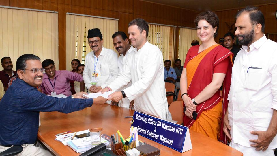 Congress president Rahul Gandhi filed his nomination papers from the Wayanad Lok Sabha seat in Kerala, the second constituency he is contesting apart from his traditional stronghold of Amethi in Uttar Pradesh, for the Lok Sabha election 2019. A recently-formed constituency, Wayanad Lok Sabha seat is a Congress stronghold and will go to polls on April 23 along with all the 20 others in the southern state. (HT Photo)