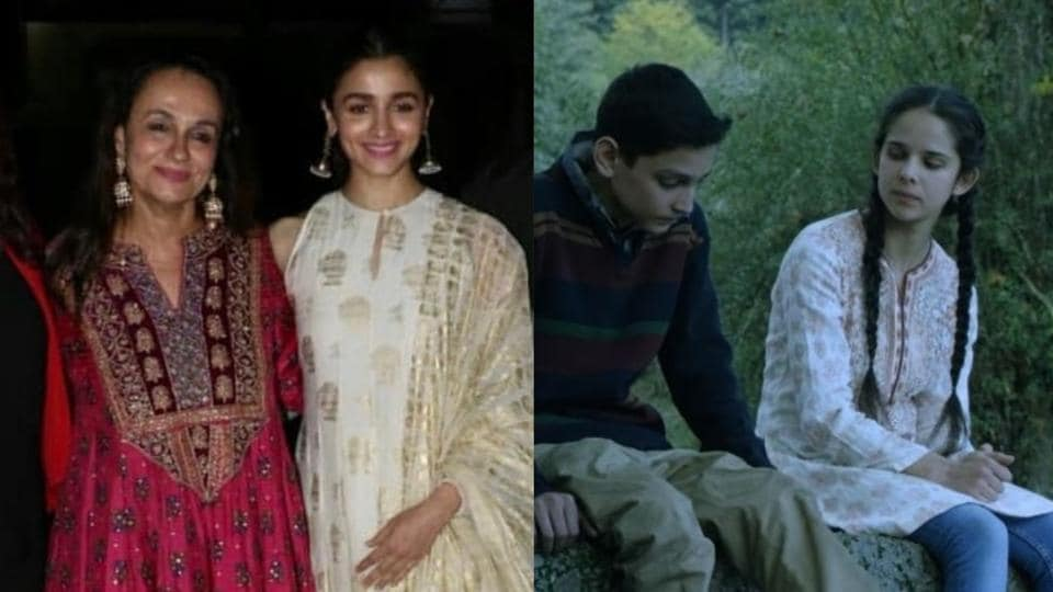 Soni Razdan with Alia Bhatt at No Fathers In Kashmir screening and a still from the film.