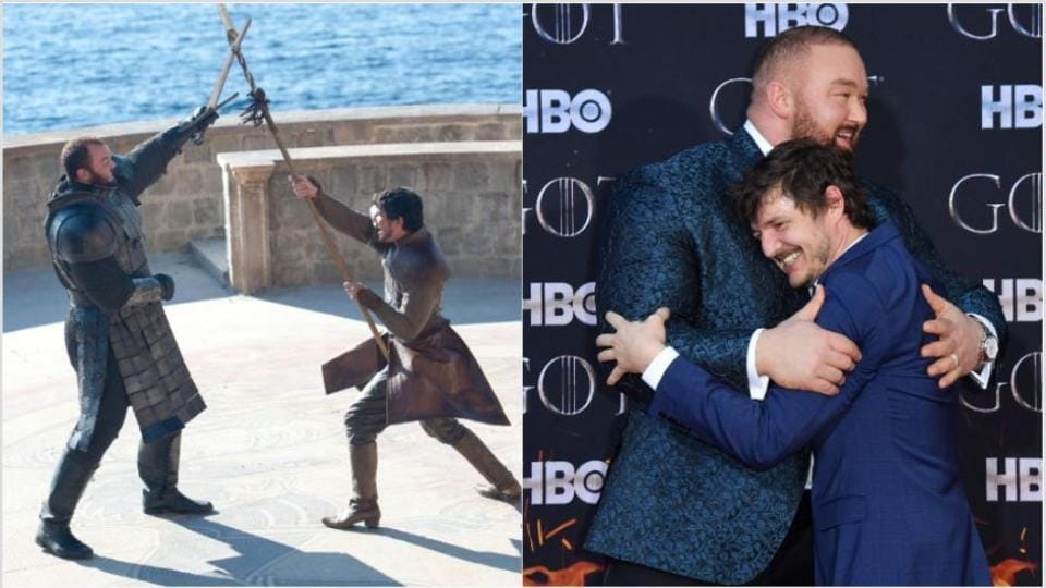 Hafþór Júlíus Björnsson and Pedro Pascal reunited at the Game of Thrones premiere on Wednesday.