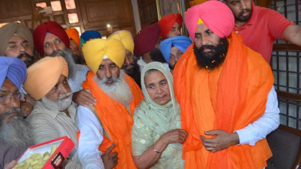 LIP leaders Simarjit Singh Bains and Balwinder Singh Bains with their mother Kashmir Kaur in Ludhiana on Friday.