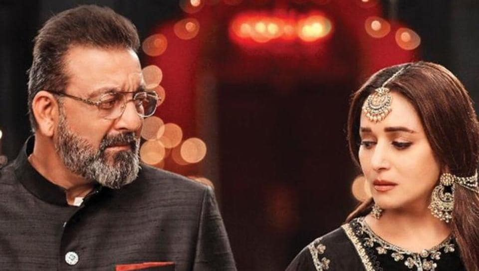 Sanjay Dutt and Madhuri Dixit in a still from Kalank.