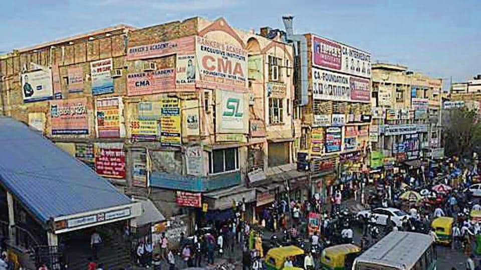 Advertising seen in Laxmi Nagar.