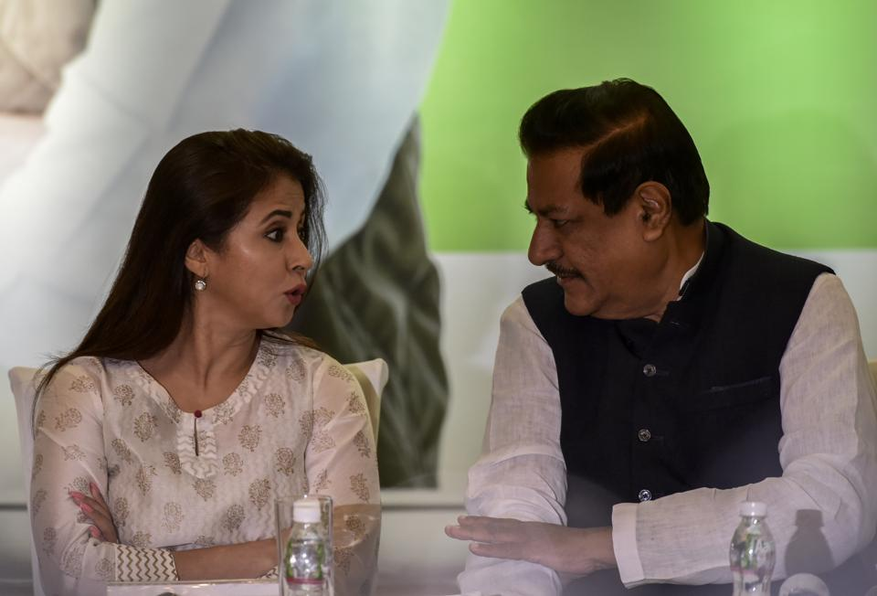 Urmila Matondkar and Congress leader Prithviraj Chavan, during a press conference at Worli on Thursday.