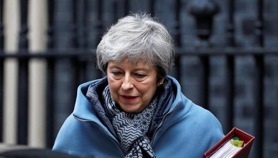 British Prime Minister Theresa May is seen outside Downing Street in London, Britain, April 3, 2019. REUTERS/Peter Nicholls