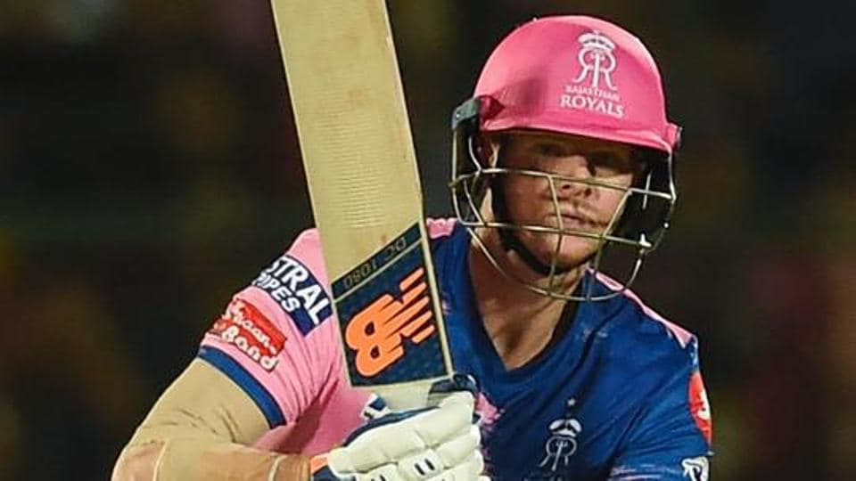Rajasthan Royals' Steve Smith looks on after playing a shot during the 2019 Indian Premier League (IPL) Twenty20 cricket match between Rajasthan Royals and Kings XI Punjab at the Sawai Mansingh stadium in Jaipur on March 25, 2019.