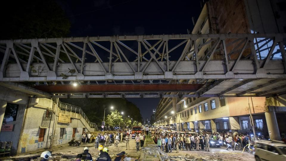 The foot overbridge leading to CSMT collapsed in Mumbai on March 14.