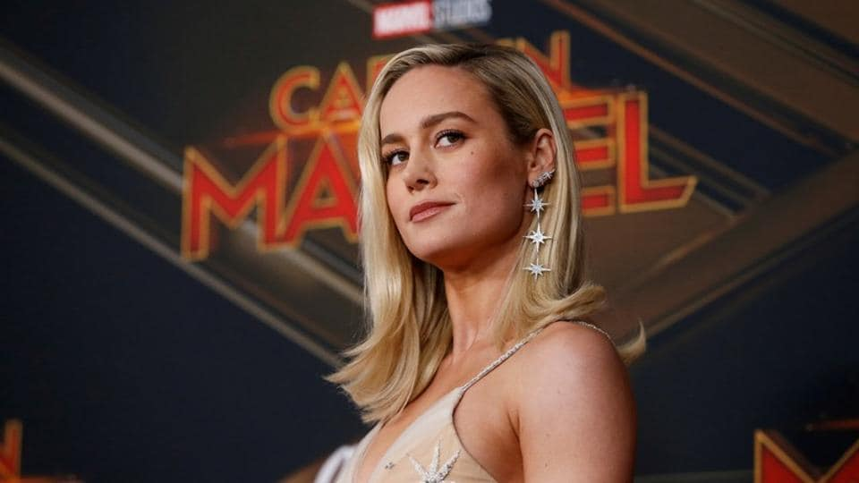 Brie Larson poses at the premiere for the movie Captain Marvel in Los Angeles.