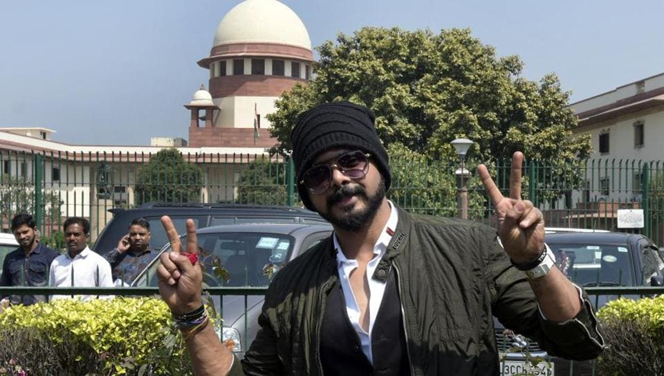 Sreesanth, former Indian cricketer reacts after the verdict in match fixing case, at Supreme Court in New Delhi, India, on Friday, March 15, 2019.