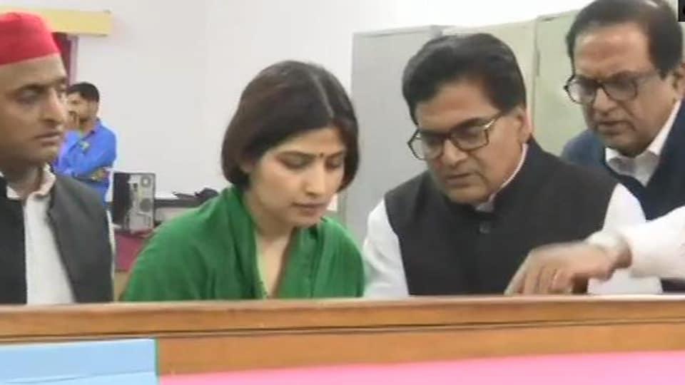 Dimple Yadav, Samajwadi Party's candidate from Kannauj files nomination.