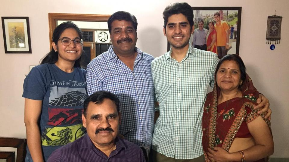 KANISHAK KATARIA (SECOND FROM RIGHT) WITH HIS FATHER (SITTING), MATERNAL UNCLE, SISTER AND MOTHER AT HIS JAIPUR HOUSE ON FRIDAY EVENING.