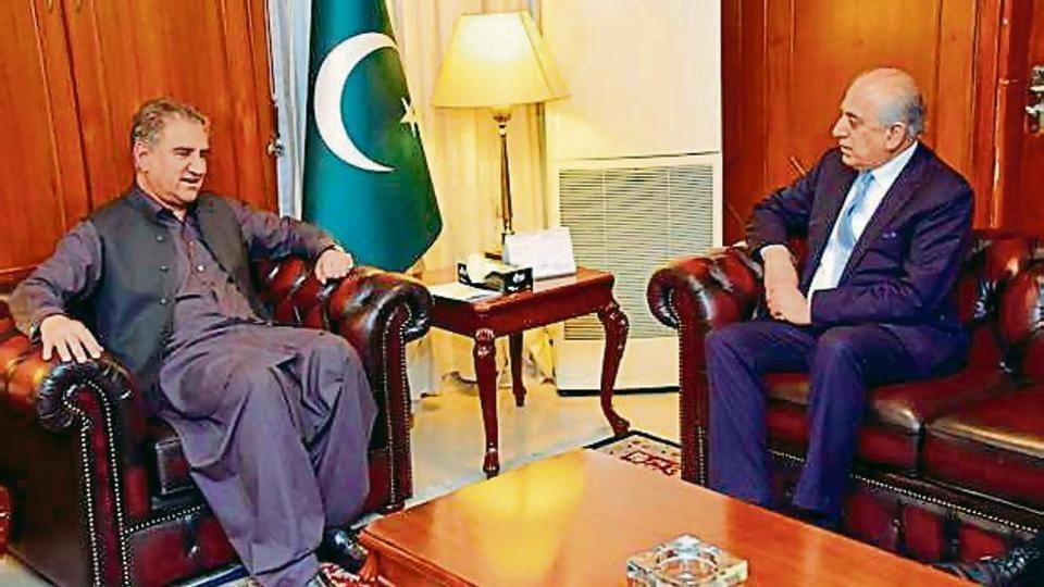 Pak foreign minister Shah Mehmood Qureshi (left) meets US envoy Zalmay Khalilzad in Islamabad on Friday
