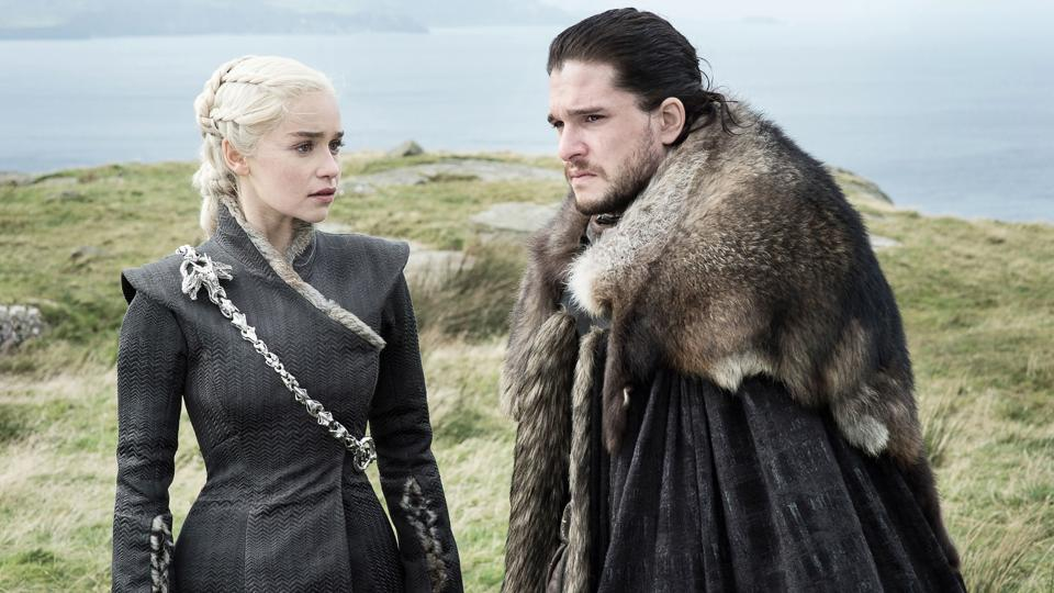 Emilia Clarke and Kit Harington play Daenerys Targaryen and Jon Snow, voted most likely to win the game of thrones, but not if you believe the myriad conspiracy theories.