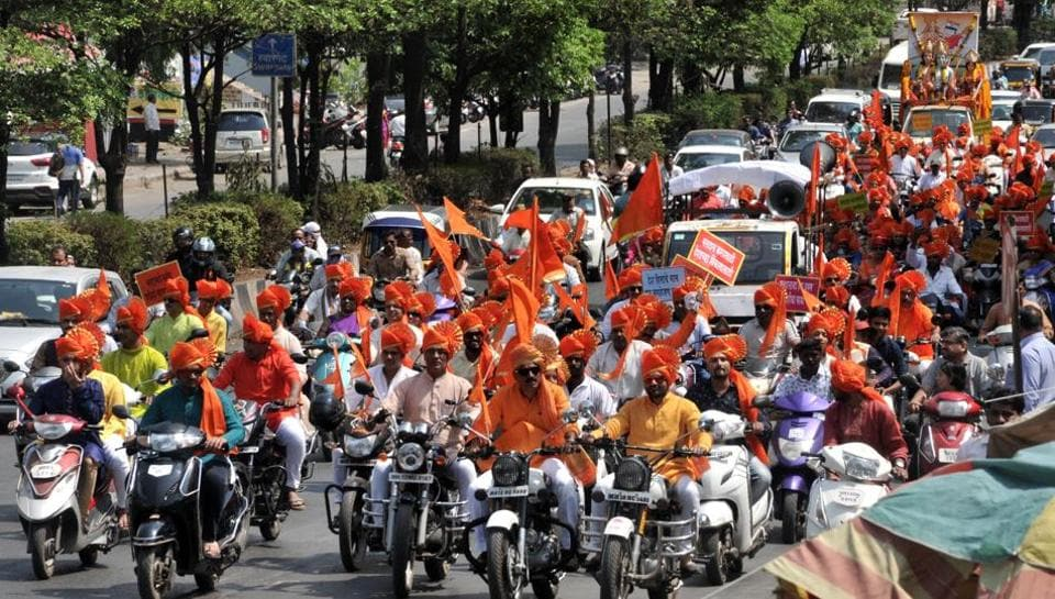 The Hindu Nav Varsh Swagat Samiti took out a rally on the occasion of Gudi Padwa on Sinhagad road in Pune, on Saturday. (HT PHOTO)