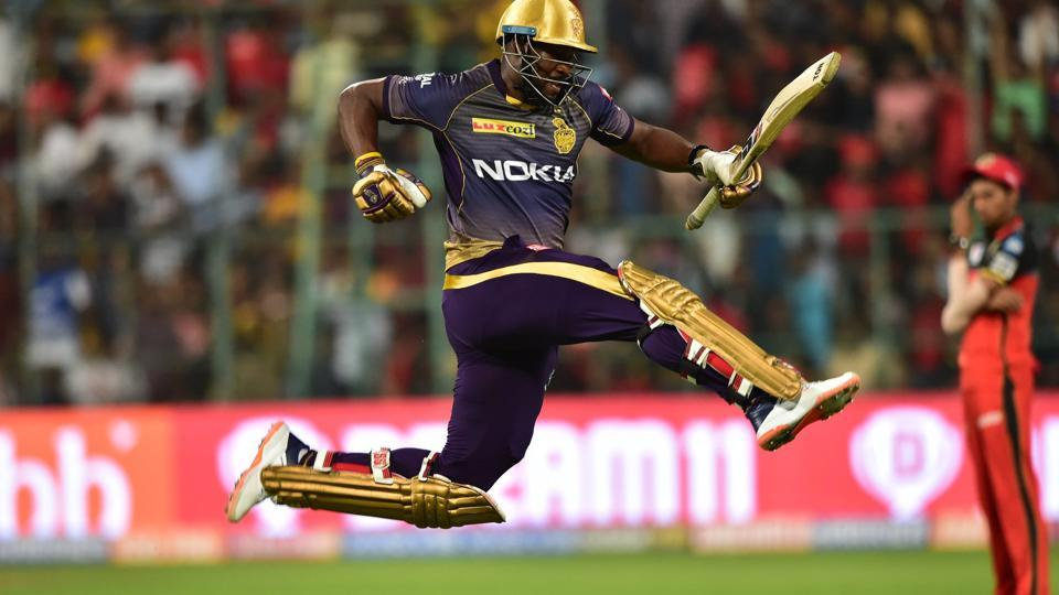 Kolkata Knight Riders (KKR) batsman Andre Russell leaps in the air after beating Royal Challengers Bangalore (RCB) on Friday. (PTI)