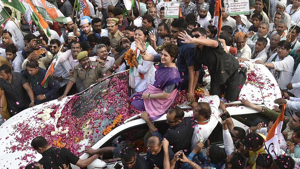 Congress General Secretary Priyanka Vadra during a roadshow, ahead of the Lok Sabha polls, in Ghaziabad.