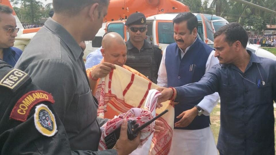 UPchief minister Yogi Adityanath during election campaign in Hojai area of Assam.
