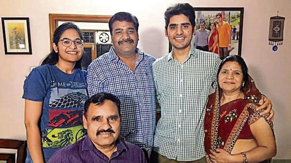 Civil service topper Kanishak Kataria with his family members