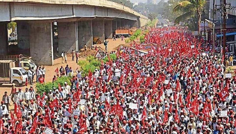 Thousands of farmers march from Nashik to Mumbai to protest against the government's response to the distress in state's farm sector and to press for their demands in February.