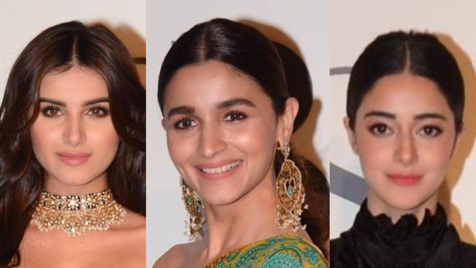 Alia Bhatt, Tara Sutaria and Ananya Pandey pose for shutterbugs at a recent event.